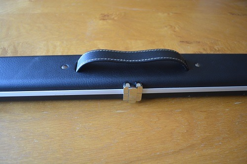 Black three quarter Aluminium Leather Look Cue Case 1