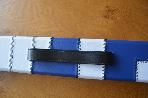 Blue and White One Piece Leatherette Cue Case
