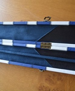 Blue and White One Piece Leatherette Cue Case 5