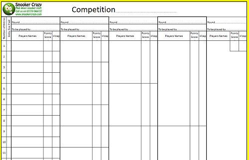 Snooker Competition Sheets 1