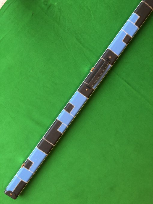 1 Piece Black and Blue Patchwork Halo Style Cue Case 2
