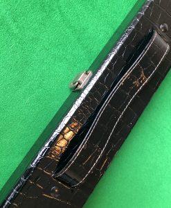 Three Quarter Black Crocodile Effect Cue Case 1