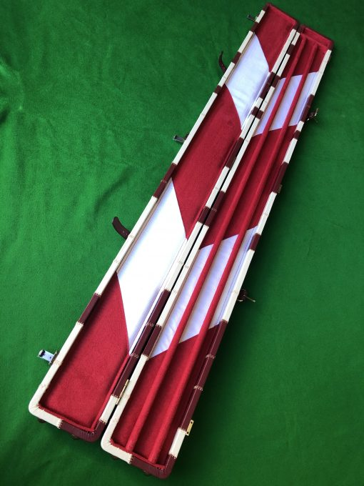 Three Quarter Burgundy - Cream Cue Case - Extra Wide 6607-1 1