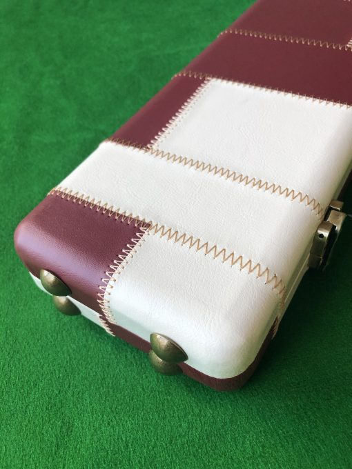 Three Quarter Burgundy - Cream Cue Case - Extra Wide 6607-32