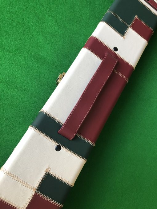 Three Quarter Burgundy - Cream -Green Cue Case - Extra Wide 6608 1