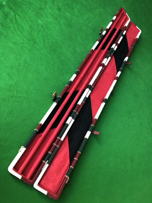 Three Quarter Burgundy - Cream -Green Cue Case - Extra Wide 6608 2