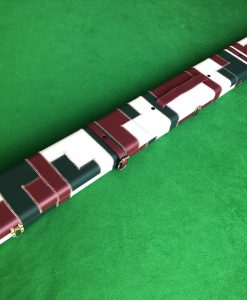 Three Quarter Burgundy - Cream -Green Cue Case - Extra Wide 6608 3