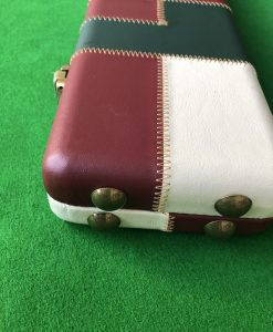 Three Quarter Burgundy - Cream -Green Cue Case - Extra Wide 6608 4