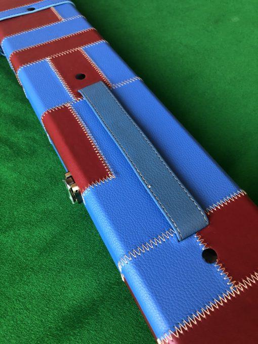 Three Quarter Claret-Blue Cue Case - Extra Wide 6102 - 1