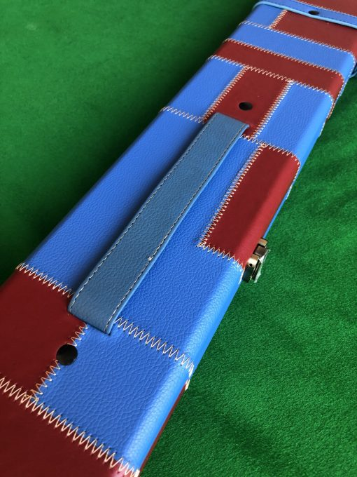 Three Quarter Claret-Blue Cue Case - Extra Wide 6102 - 1