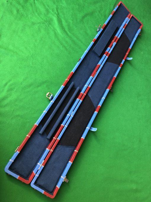 Three Quarter Claret-Blue Cue Case - Extra Wide 6102 - 2