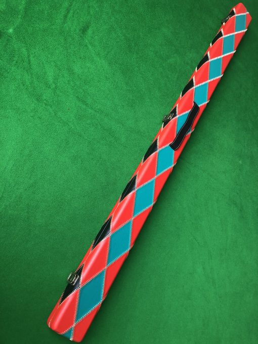 Three Quarter Green and Red Diamond Cue Case 1
