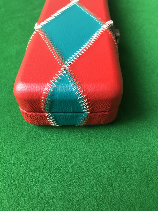 Three Quarter Green and Red Diamond Cue Case 3